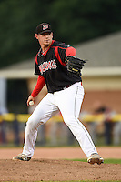 Batavia Muckdogs pitcher Josh Hodges (44) delivers a pitch during a game against the Auburn Doubledays on August 31, 2014 at Dwyer Stadium in Batavia, New York.  Batavia defeated Auburn 7-6.  (Mike Janes/Four Seam Images)