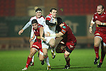 Ulster centre Darren Cave bursts through the Scarlets defence..Celtic League.Scarlets v Ulster.Parc y Scarlets.02.12.12..©Steve Pope