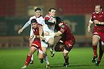 Ulster centre Darren Cave bursts through the Scarlets defence..Celtic League.Scarlets v Ulster.Parc y Scarlets.02.12.12..©Steve Pope