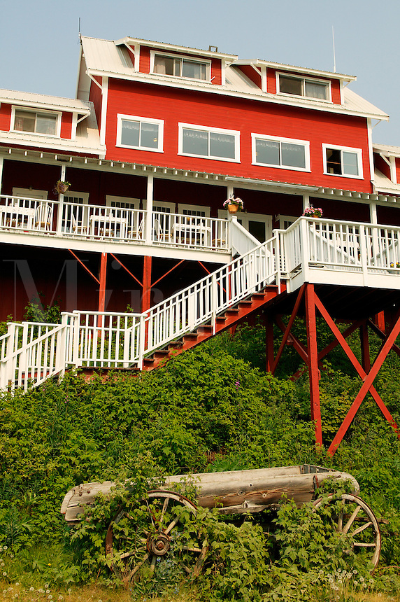 The Kennicott Logde sits near the buildings from the historic Kennicott Mill built in 1907 by the Kennecott Copper Corporation near McCarthy, Wrangell-St. Elias National Park and Preserve, Alaska