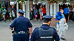 SARATOGA SPRINGS, NY - AUGUST 25: Fans rush past New York Racing Association Peace Officers to secure seating locations for the day as the gates open on Travers Stakes Day at Saratoga Race Course on August 25, 2018 in Saratoga Springs, New York. (Photo by Scott Serio/Eclipse Sportswire/Getty Images)