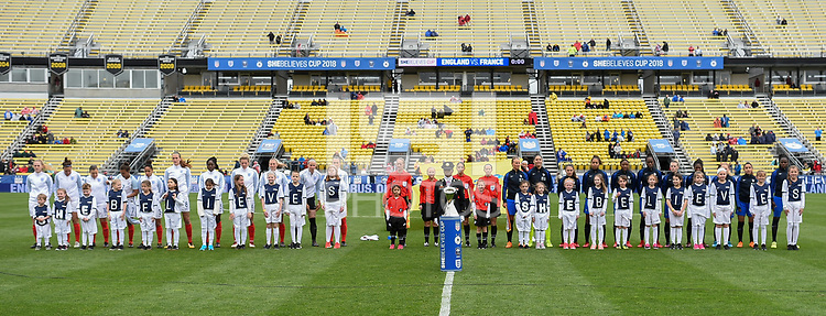 Columbus, Ohio - Thursday March 01, 2018: Starting line up's of England and France during a 2018 SheBelieves Cup match between the women's national teams of the England (ENG) and France (FRA) at MAPFRE Stadium.