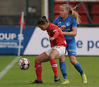 Genk's Britt Labro (17) and Standard's Noemie Gelders (10)(with the ball) in action during a female soccer game between Standard Femina de Liege and KRC Genk Ladies  on the third matchday of the 2020 - 2021 season of Belgian Womens Super League , Saturday 3 rd of October 2020  in Liege , Belgium . PHOTO SPORTPIX.BE   SPP   SEVIL OKTEM