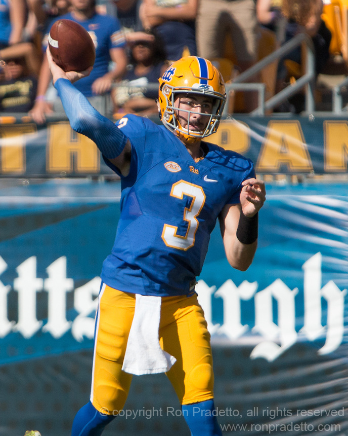Pitt quarterback Ben DiNucci. The North Carolina Wolfpack defeated the Pitt Panthers 35-17 at Heinz Field, Pittsburgh, PA on October 14, 2017.
