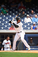 Nashville Sounds third baseman Renato Nunez (34) at bat during a game against the Iowa Cubs on May 4, 2016 at First Tennessee Park in Nashville, Tennessee.  Iowa defeated Nashville 8-4.  (Mike Janes/Four Seam Images)