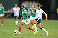 Veronica Perez (17) of Mexico goes against Carli Lloyd (10) of the USWNT. The USWNT defeated Mexico 7-0 during an international friendly, at RFK Stadium, Tuesday September 3 , 2013.