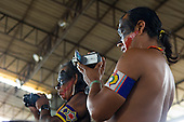 "Altamira, Brazil. ""Xingu Vivo Para Sempre"" protest meeting about the proposed Belo Monte hydroeletric dam and other dams on the Xingu river and its tributaries. Kayapo filming."