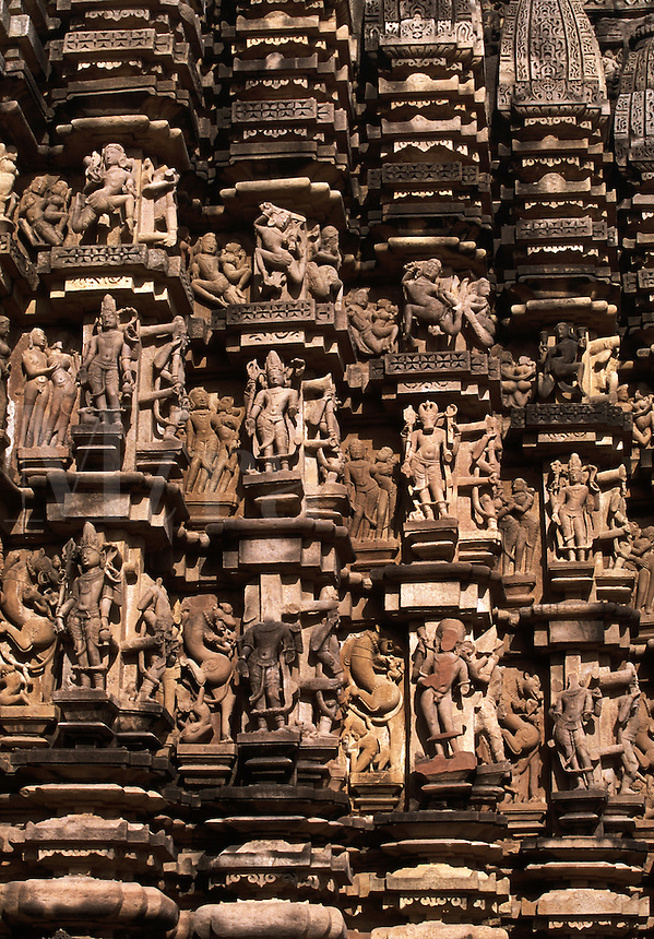 Erotic Stone Carvings on Duladeo Temple facade Khajuraho India.