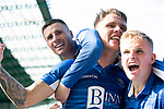Hibs v St Johnstone….24.08.19      Easter Road     SPFL <br />Jason Kerr celebrates scoring the equaliser with Michael O'Halloran and Ali McCann<br />Picture by Graeme Hart. <br />Copyright Perthshire Picture Agency<br />Tel: 01738 623350  Mobile: 07990 594431
