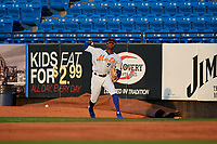 St. Lucie Mets right fielder Hansel Moreno (9) throws the ball in during a Florida State League game against the Florida Fire Frogs on April 12, 2019 at First Data Field in St. Lucie, Florida.  Florida defeated St. Lucie 10-7.  (Mike Janes/Four Seam Images)