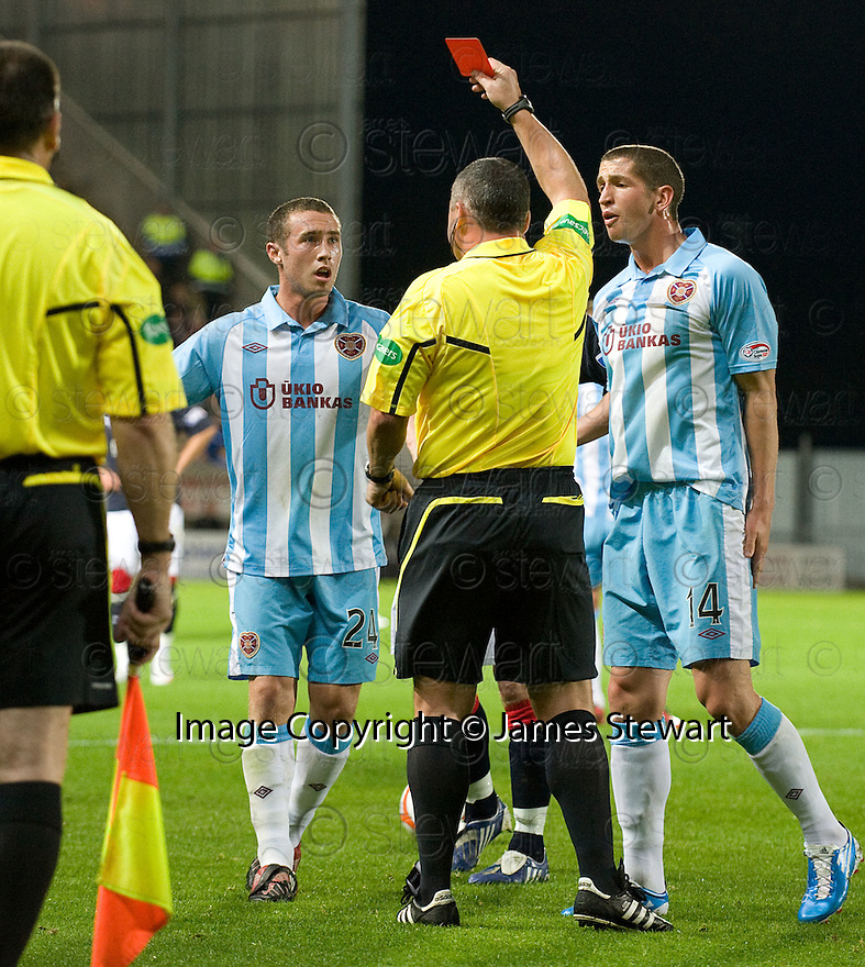 21/09/2010   Copyright  Pic : James Stewart.sct_jsp008_falkirk_v_hearts  .:: CRAIG THOMSON IS SENT OFF :: .James Stewart Photography 19 Carronlea Drive, Falkirk. FK2 8DN      Vat Reg No. 607 6932 25.Telephone      : +44 (0)1324 570291 .Mobile              : +44 (0)7721 416997.E-mail  :  jim@jspa.co.uk.If you require further information then contact Jim Stewart on any of the numbers above.........