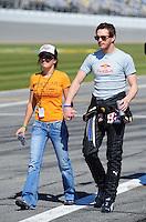 Feb 08, 2009; Daytona Beach, FL, USA; NASCAR Sprint Cup Series driver Scott Speed with fiance Amanda Mathis during qualifying for the Daytona 500 at Daytona International Speedway. Mandatory Credit: Mark J. Rebilas-