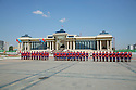Mongolian soldiers in front of Parliament House, Sukhbaatar Square, Ulaan Baatar Mongolia