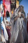 A shop in Sidi Bou Said, Tunisia sells Arabic style clothing.