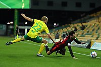 17th April 2021; Carrow Road, Norwich, Norfolk, England, English Football League Championship Football, Norwich versus Bournemouth; Teemu Pukki of Norwich City fouls Adam Smith of Bournemouth