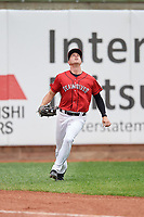 Erie SeaWolves outfielder Luke Burch (3) catches a fly ball during an Eastern League game against the Altoona Curve on June 5, 2019 at UPMC Park in Erie, Pennsylvania.  Altoona defeated Erie 6-2.  (Mike Janes/Four Seam Images)