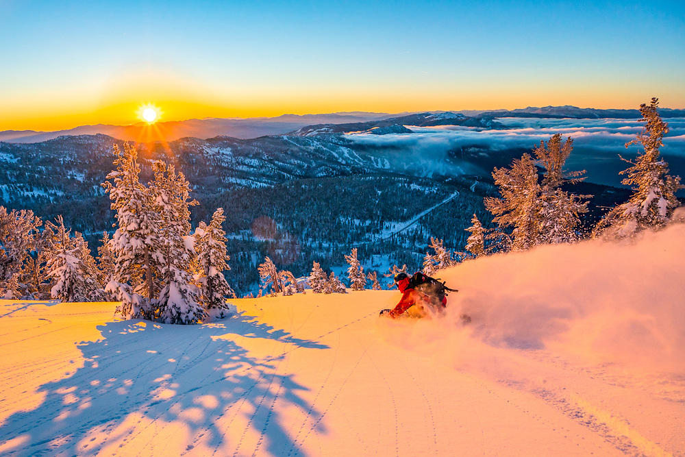 Jeremy just doing what he does best during an early season sunrise. I love early season, when the sun is low, because we can ride east and south facing aspects in blower powder. Later in the year, these aspects get cooked by sun and the snow gets effected very quickly.