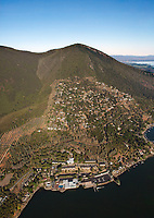 aerial photograph of Konocti Harbor Resort, Riviera West, Mount Konocti, Lake County, California; the Black Forest is on the right in the middle
