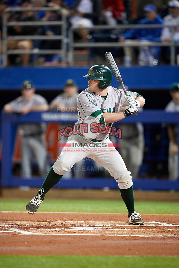 Siena Saints second baseman Jordan Bishop (4) at bat during a game against the Florida Gators on February 16, 2018 at Alfred A. McKethan Stadium in Gainesville, Florida.  Florida defeated Siena 7-1.  (Mike Janes/Four Seam Images)