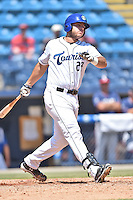 Asheville Tourists first baseman Roberto Ramos (27) swings at a pitch during a game against the Rome Braves on July 26, 2015 in Asheville, North Carolina. The Tourists defeated the Braves 16-4. (Tony Farlow/Four Seam Images)