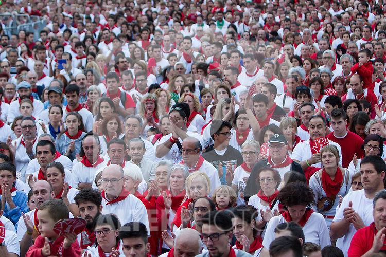 New demonstration in Pamplona against sexist attacks and abuses that have occurred during the weekend at the festival of San Fermin, organizated by de federation of clubs. July 11, 2016. (ALTERPHOTOS/Rodrigo Jimenez)
