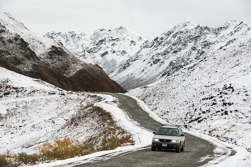 Laura Wolff (driver) and Whitney Leonard (passenger) made their way over Hatcher Pass with fresh termination dust surrounding the road on the last day it was open. The road over the pass is closed to vehicle traffic for winter starting Sept. 14 this year.