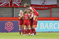 Jennifer Beattie of Arsenal scores the third goal for her team and celebrates during Brighton & Hove Albion Women vs Arsenal Women, Barclays FA Women's Super League Football at Broadfield Stadium on 11th October 2020