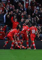 Saturday 10 November 2012<br /> Pictured: Morgan Schneiderlin of Southampton (2nd R) celebrating his opening goal with fellow players to the delight of home supporters <br /> Re: Barclay's Premier League, Southampton FC v Swansea City FC at St Mary's Stadium, Southampton, UK.