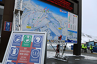 ; 16th October 2020, Rettenbachferner, Soelden, Austria; FIS World Cup Alpine Skiing course set upAlpine Ski World Cup 2020-2021 - during the Coronavirus Outbreak . One day before the Giant Slalom as part of the Alpine Ski World Cup in Solden ; Covid-19 rules detailed at the telecabine