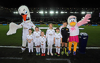 Children mascots with Cyril and Cybil the Swans before the Barclays Premier League match between Swansea City and Watford at the Liberty Stadium, Swansea on January 18 2016