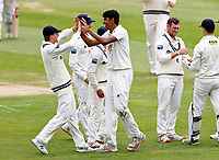 Jas Singh making his debut for Kent is congratulated after taking the wicket of Tom Haines during Kent CCC vs Sussex CCC, LV Insurance County Championship Group 3 Cricket at The Spitfire Ground on 11th July 2021