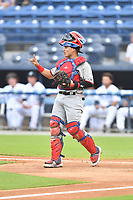 Hickory Crawdads catcher David Garcia (13) during a game against the Asheville Tourists on July 20, 2021 at McCormick Field in Asheville, NC. (Tony Farlow/Four Seam Images)