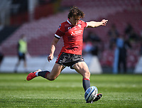 24th April 2021; Kingsholm Stadium, Gloucester, Gloucestershire, England; English Premiership Rugby, Gloucester versus Newcastle Falcons; Lloyd Evans of Gloucester kicks a conversion