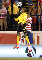COLUMBUS, OHIO - SEPTEMBER 11, 2012:  Fabian Johnson (23) of the USA MNT loses a header to Dane Richards (11) of  Jamaica during a CONCACAF 2014 World Cup qualifying  match at Crew Stadium, in Columbus, Ohio on September 11. USA won 1-0.