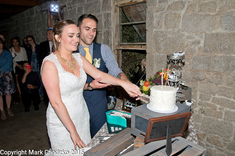 Josh & Lauren Carlton cut the cake.