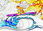 Illustration of man surfing