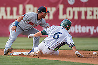 31 July 2016: Vermont Lake Monsters infielder Nate Mondou slides safely into second during a game against the Connecticut Tigers at Centennial Field in Burlington, Vermont. The Lake Monsters edged out the Tigers 4-3 in NY Penn League action.  Mandatory Credit: Ed Wolfstein Photo *** RAW (NEF) Image File Available ***
