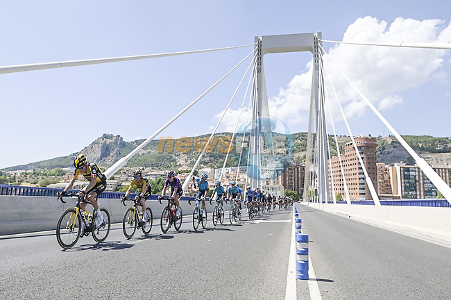 The peloton during Stage 7 of La Vuelta d'Espana 2021, running 152km from Gandia to Balcon de Alicante, Spain. 20th August 2021.     <br /> Picture: Unipublic/Charly Lopez | Cyclefile<br /> <br /> All photos usage must carry mandatory copyright credit (© Cyclefile | Charly Lopez/Unipublic)
