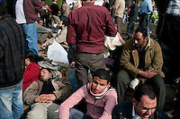 Anti government protesters in Tahrir square rest after days of demonstrations. The square was the scene of heavy clashes between pro and anti government protesters. Continued anti-government protests take place in Cairo calling for President Mubarak to stand down. After dissolving the government and allowing for talks with opposition parties Mubarak still refuses to step down from power.