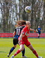 Angel Kerkhove (11) of Club Brugge and Gwyneth Vanaenrode (3) of Standard battle for the ball during a female soccer game between Standard Femina de Liege and Club Brugge YLA on the 2nd matchday in play off 1 of the 2020 - 2021 season of Belgian Scooore Womens Super League , saturday 17 th of April 2021  in Angleur , Belgium . PHOTO SPORTPIX.BE | SPP | SEVIL OKTEM