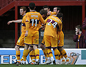 31/10/2009  Copyright  Pic : James Stewart.sct_jspa11_motherwell_v_hearts  . :: ROSS FORBES IS CONGRATULATED AFTER HE SCORES MOTHERWELL'S GOAL :: .James Stewart Photography 19 Carronlea Drive, Falkirk. FK2 8DN      Vat Reg No. 607 6932 25.Telephone      : +44 (0)1324 570291 .Mobile              : +44 (0)7721 416997.E-mail  :  jim@jspa.co.uk.If you require further information then contact Jim Stewart on any of the numbers above.........