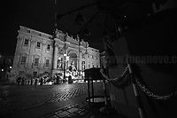 """Fontana di Trevi.<br /> <br /> Rome, 23/10/2020. Documenting the """"curfew"""" (coprifuoco) imposed from Friday night in Rome and its surrounding Lazio Region. The local authorities tightened rules and restrictions due to a spike in the Covid-19 / Coronavirus cases. 23 October bulletins sees 19.143 new cases, 91 people died, 182.032 tests made. Today, the President of Lazio Region, Nicola Zingaretti (Leader of the Democratic Party, PD, party member of the Italian Coalition Government), imposed the night curfew, from midnight to 5AM, for 30 days (1.). A new self-certification (autocertificazione, downloadable from here 1.) is needed to leave home which is allowed only for urgent reasons, mainly work and health. Furthermore, the Mayor of Rome, Virginia Raggi, implemented """"no-go zones"""" restrictions from 9PM in some of the areas and squares of the Eternal City famous for the nightlife, including Campo de' Fiori, Via del Pigneto, Piazza Trilussa in Trastevere district and Piazza Madonna de' Monti.<br /> <br /> Footnotes & Links:<br /> 1. http://www.regione.lazio.it/binary/rl_main/tbl_news/ordinanza_regione_lazio_intesa_Ministro_salute__mod_accettate_rev1__ore_24_1_signed.pdf<br /> <br /> March 2020, Coronavirus lockdown in Rome:<br /> - 12.03.2020 - Rome's Lockdown for the Outbreak of the Coronavirus In Italy - SARS-CoV-2 - COVID-19: https://lucaneve.photoshelter.com/gallery/12-03-2020-Romes-Lockdown-for-the-Outbreak-of-the-Coronavirus-In-Italy-SARS-CoV-2-COVID-19/G0000jGtenBegsts/<br /> - 07-23.03.2020 - Villaggio Olimpico Ai Tempi del COVID-19 - Rome's Olympic Village Under Lockdown: https://lucaneve.photoshelter.com/gallery/07-23-03-2020-Villaggio-Olimpico-Ai-Tempi-del-COVID-19-Romes-Olympic-Village-Under-Lockdown/G0000D2L9l0ibXZI/"""