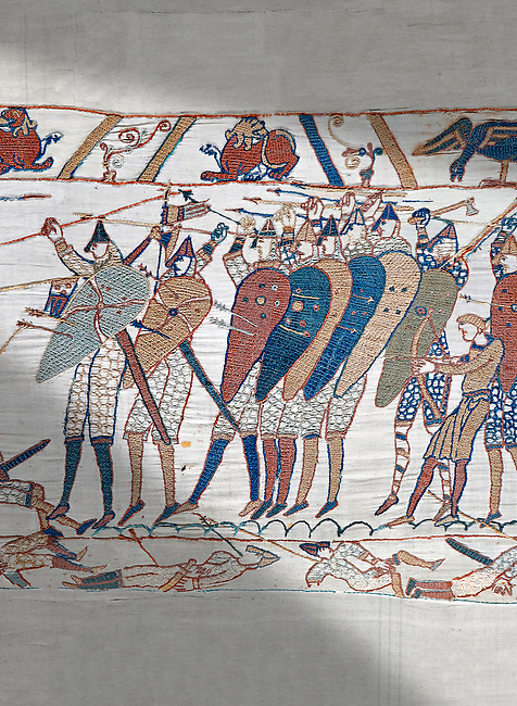 Bayeux Tapestry scene 51b: The Norman cavalry charge the Saxon foot solders.