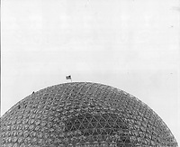1967 FILE PHOTO - ARCHIVES -<br /> <br /> The geodesic dome designed by Buckminster Fuller. Commenting on the structure he says: In today's world you have to learn to do more with less. That's what my building does and that's what the German pavilion does. My building is the only one at the fair that's so light you actually know what it weights.<br /> <br /> 1967<br /> <br /> PHOTO : Boris Spremo - Toronto Star Archives - AQP