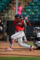 Mississippi Braves Cristian Pache (16) at bat during a Southern League game against the Jackson Generals on July 23, 2019 at The Ballpark at Jackson in Jackson, Tennessee.  Jackson defeated Mississippi 2-0 in the first game of a doubleheader.  (Mike Janes/Four Seam Images)