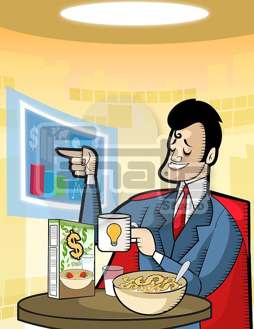 Businessman having money breakfast