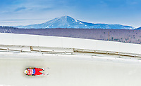 5 December 2014: Wolfgang Kindl, sliding for Austria, slides through Curve Number 14 on his first run, ending the day with a 2nd place finish and a combined 2-run time of 1:42.890 in the Men's Competition at the Viessmann Luge World Cup, at the Olympic Sports Track in Lake Placid, New York, USA. Mandatory Credit: Ed Wolfstein Photo *** RAW (NEF) Image File Available ***
