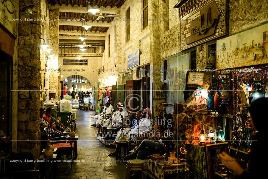 QATAR, Doha, Souq Waqif / KATAR, Doha, Basar Souk Wakif, Shisha Cafe