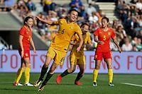 26 November 2017, Melbourne - CHLOE LOGARZO (6) of Australia celebrates her first international goal during an international friendly match between the Australian Matildas and China PR at GMHBA Stadium in Geelong, Australia.. Australia won 5-1. Photo Sydney Low