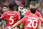 Atletico de Madrid's Thomas Partey (2l), Juanfran Torres (2r) and Saul Niguez (r) and Chelsea FC's Alvaro Morata (l) and Gary Cahill during Champions League 2017/2018, Group C, match 2. September 27,2017. (ALTERPHOTOS/Acero)